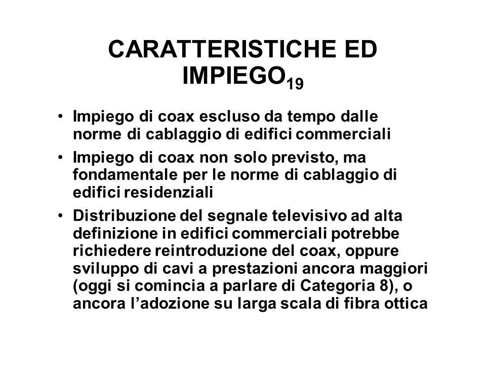 CARATTERISTICHE ED IMPIEGO 19 Impiego di coax escluso da tempo dalle norme di cablaggio di edifici commerciali Impiego di coax non solo previsto, ma f