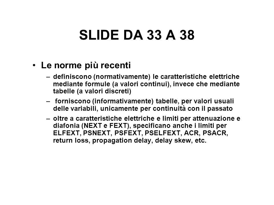 SLIDE DA 33 A 38 Le norme più recenti –definiscono (normativamente) le caratteristiche elettriche mediante formule (a valori continui), invece che med