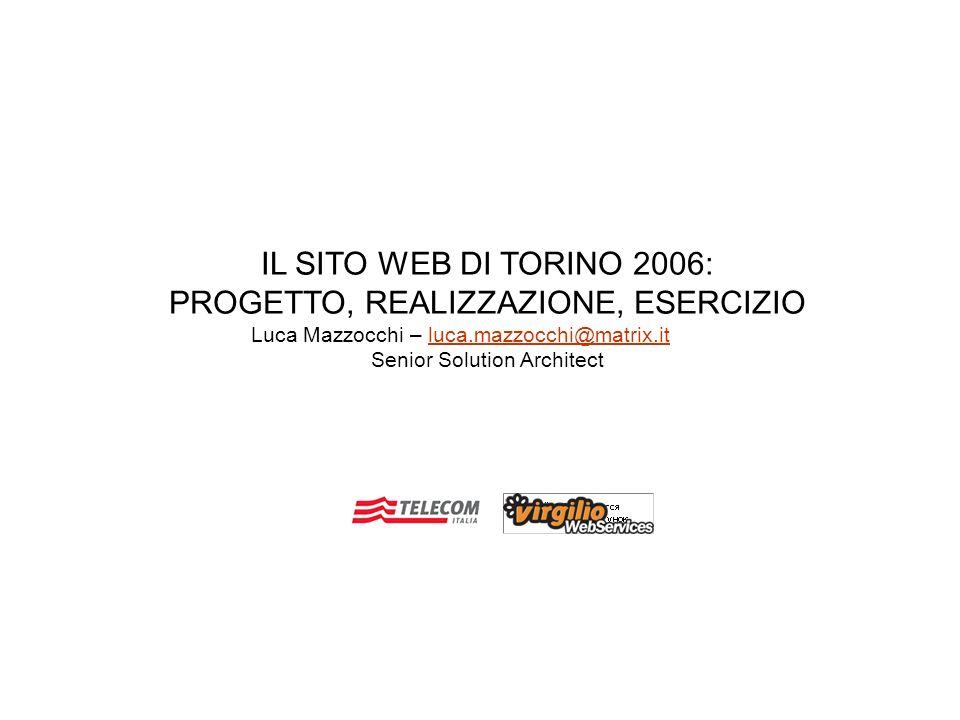 IL SITO WEB DI TORINO 2006: PROGETTO, REALIZZAZIONE, ESERCIZIO Luca Mazzocchi – luca.mazzocchi@matrix.itluca.mazzocchi@matrix.it Senior Solution Archi