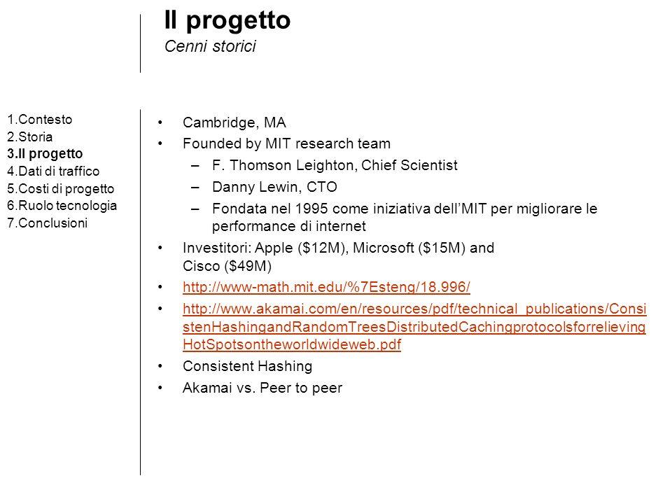 Il progetto Cenni storici 1.Contesto 2.Storia 3.Il progetto 4.Dati di traffico 5.Costi di progetto 6.Ruolo tecnologia 7.Conclusioni Cambridge, MA Founded by MIT research team –F.