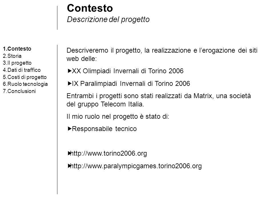 Contesto Descrizione del progetto Descriveremo il progetto, la realizzazione e lerogazione dei siti web delle: XX Olimpiadi Invernali di Torino 2006 I