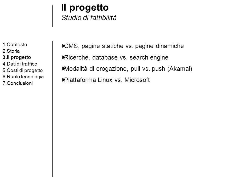 Il progetto Studio di fattibilità 1.Contesto 2.Storia 3.Il progetto 4.Dati di traffico 5.Costi di progetto 6.Ruolo tecnologia 7.Conclusioni CMS, pagin