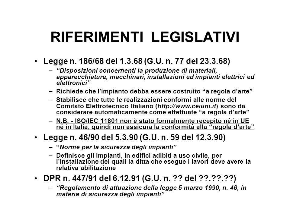 RIFERIMENTI LEGISLATIVI Legge n. 186/68 del 1.3.68 (G.U. n. 77 del 23.3.68) –Disposizioni concernenti la produzione di materiali, apparecchiature, mac