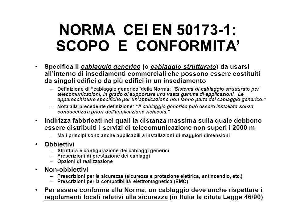 NORMA CEI EN 50173-1: SCOPO E CONFORMITA Specifica il cablaggio generico (o cablaggio strutturato) da usarsi allinterno di insediamenti commerciali ch