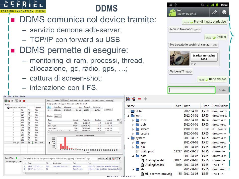 DDMS DDMS comunica col device tramite: –servizio demone adb-server; –TCP/IP con forward su USB DDMS permette di eseguire: –monitoring di ram, processi
