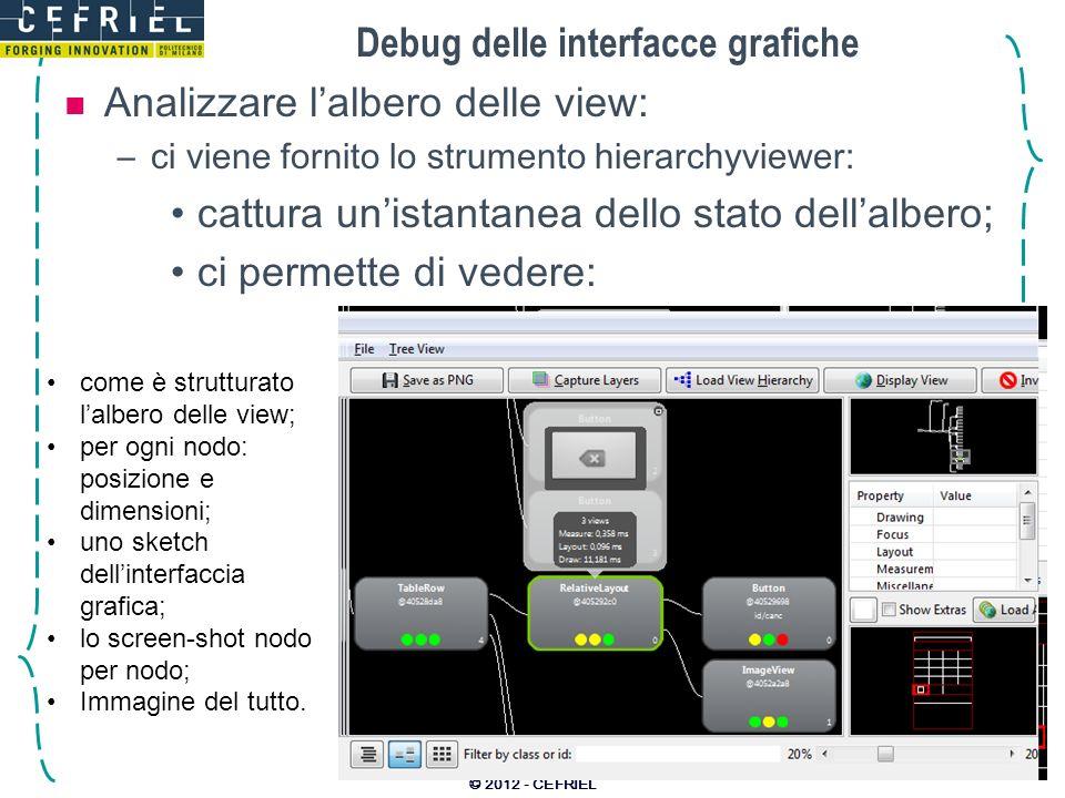 Debug delle interfacce grafiche Analizzare lalbero delle view: –ci viene fornito lo strumento hierarchyviewer: cattura unistantanea dello stato dellal