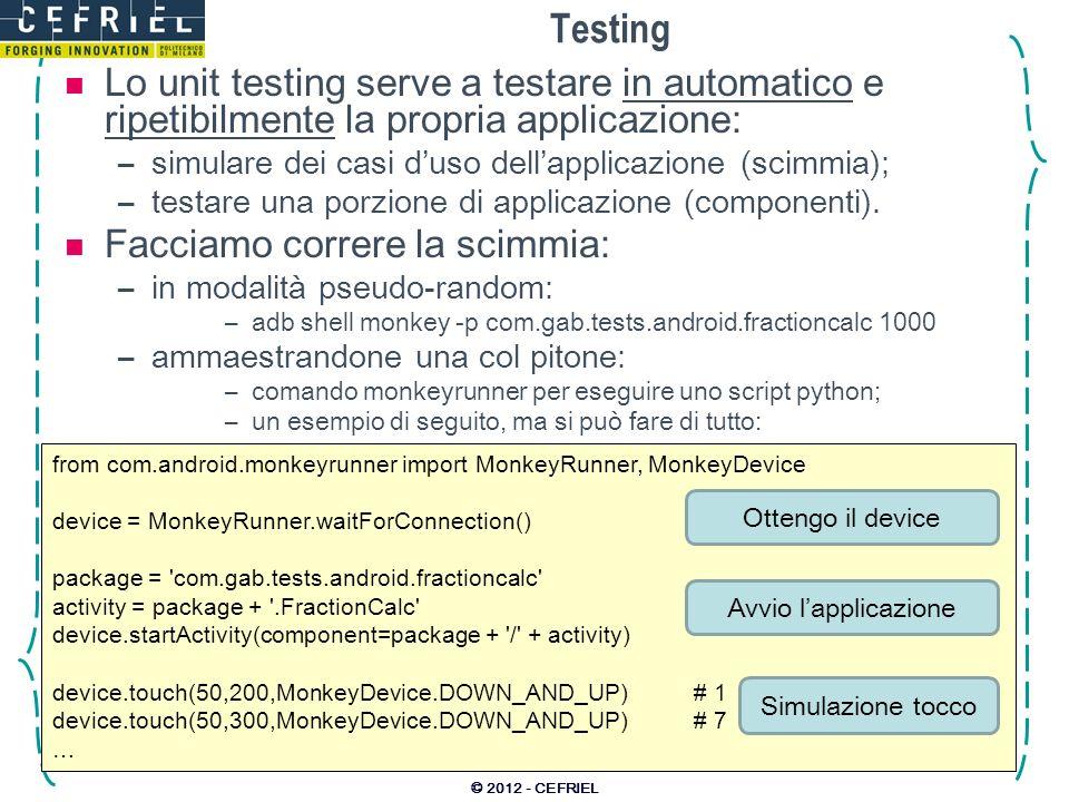 Testing Lo unit testing serve a testare in automatico e ripetibilmente la propria applicazione: –simulare dei casi duso dellapplicazione (scimmia); –t
