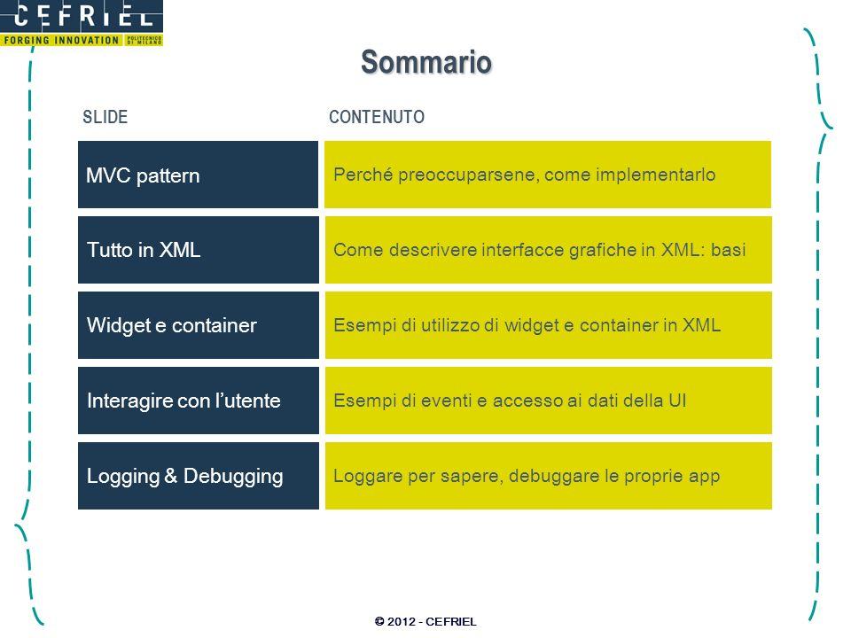© 2012 - CEFRIEL Sommario SLIDECONTENUTO MVC pattern Perché preoccuparsene, come implementarlo Interagire con lutente Esempi di eventi e accesso ai da