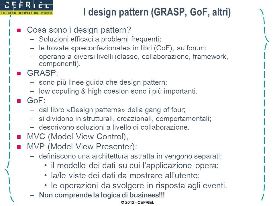 I design pattern (GRASP, GoF, altri) Cosa sono i design pattern? –Soluzioni efficaci a problemi frequenti; –le trovate «preconfezionate» in libri (GoF