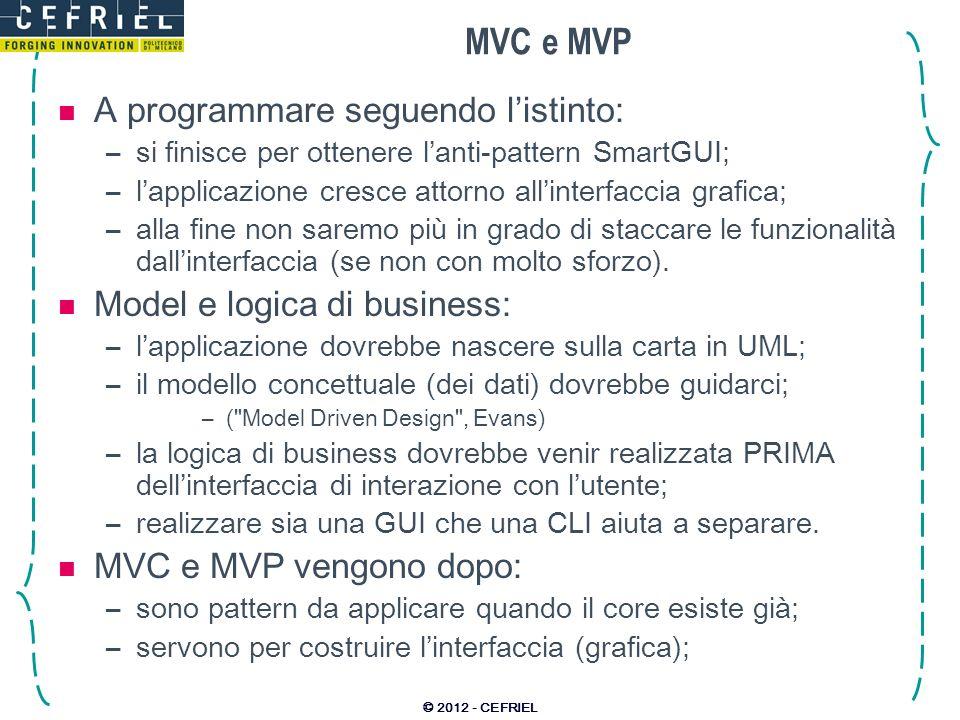 MVC e MVP A programmare seguendo listinto: –si finisce per ottenere lanti-pattern SmartGUI; –lapplicazione cresce attorno allinterfaccia grafica; –all