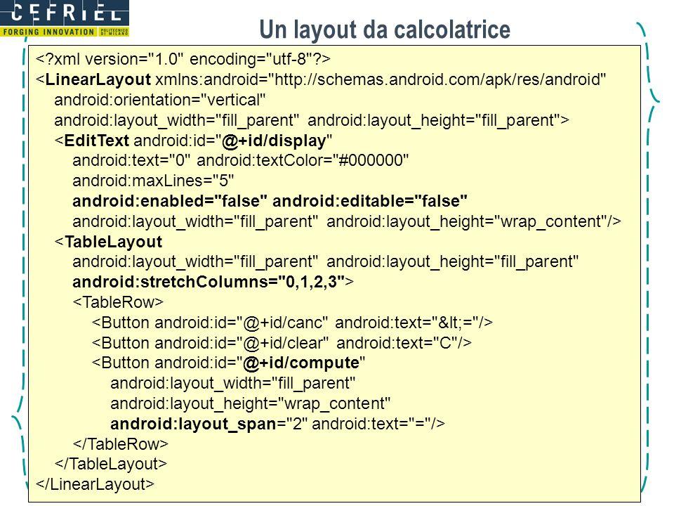 Un layout da calcolatrice © 2012 - CEFRIEL <LinearLayout xmlns:android=