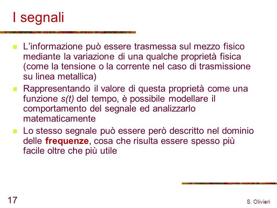S. Olivieri 17 I segnali Linformazione può essere trasmessa sul mezzo fisico mediante la variazione di una qualche proprietà fisica (come la tensione