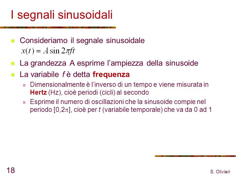 S. Olivieri 18 I segnali sinusoidali Consideriamo il segnale sinusoidale La grandezza A esprime lampiezza della sinusoide La variabile f è detta frequ
