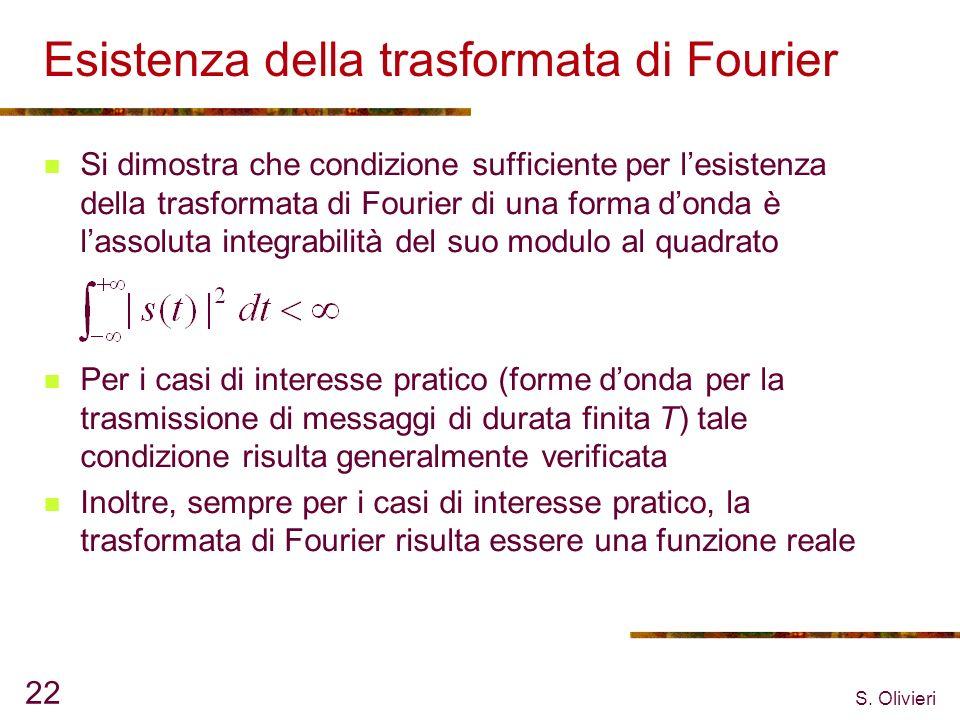 S. Olivieri 22 Esistenza della trasformata di Fourier Si dimostra che condizione sufficiente per lesistenza della trasformata di Fourier di una forma