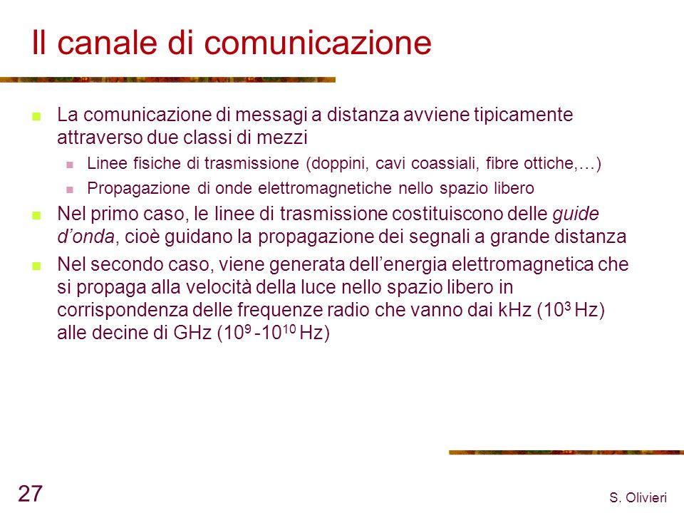 S. Olivieri 27 Il canale di comunicazione La comunicazione di messagi a distanza avviene tipicamente attraverso due classi di mezzi Linee fisiche di t