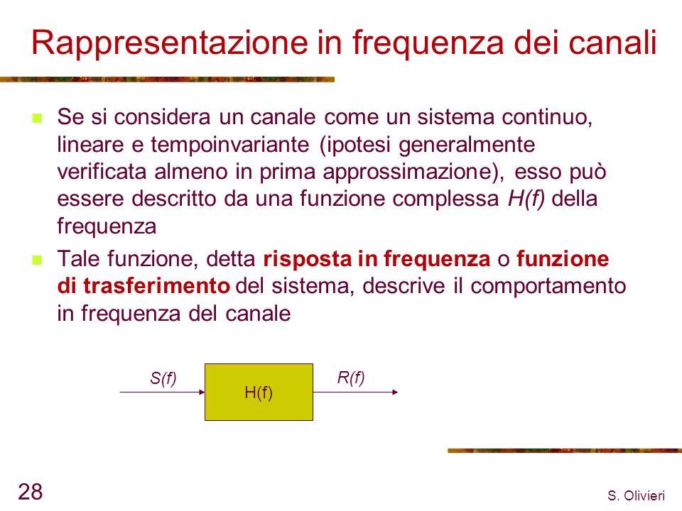 S. Olivieri 28 Rappresentazione in frequenza dei canali Se si considera un canale come un sistema continuo, lineare e tempoinvariante (ipotesi general