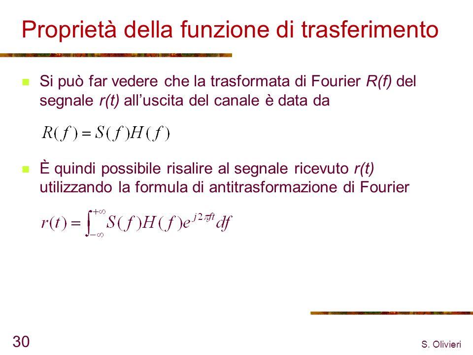 S. Olivieri 30 Proprietà della funzione di trasferimento Si può far vedere che la trasformata di Fourier R(f) del segnale r(t) alluscita del canale è