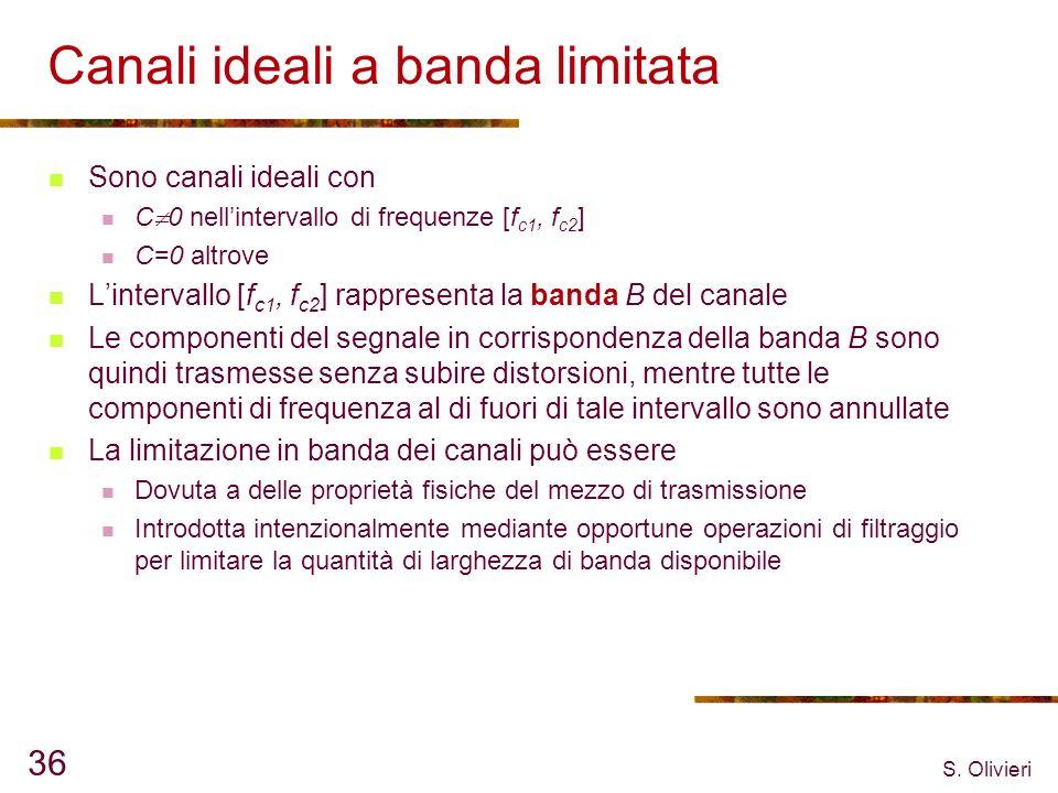 S. Olivieri 36 Canali ideali a banda limitata Sono canali ideali con C 0 nellintervallo di frequenze [f c1, f c2 ] C=0 altrove Lintervallo [f c1, f c2