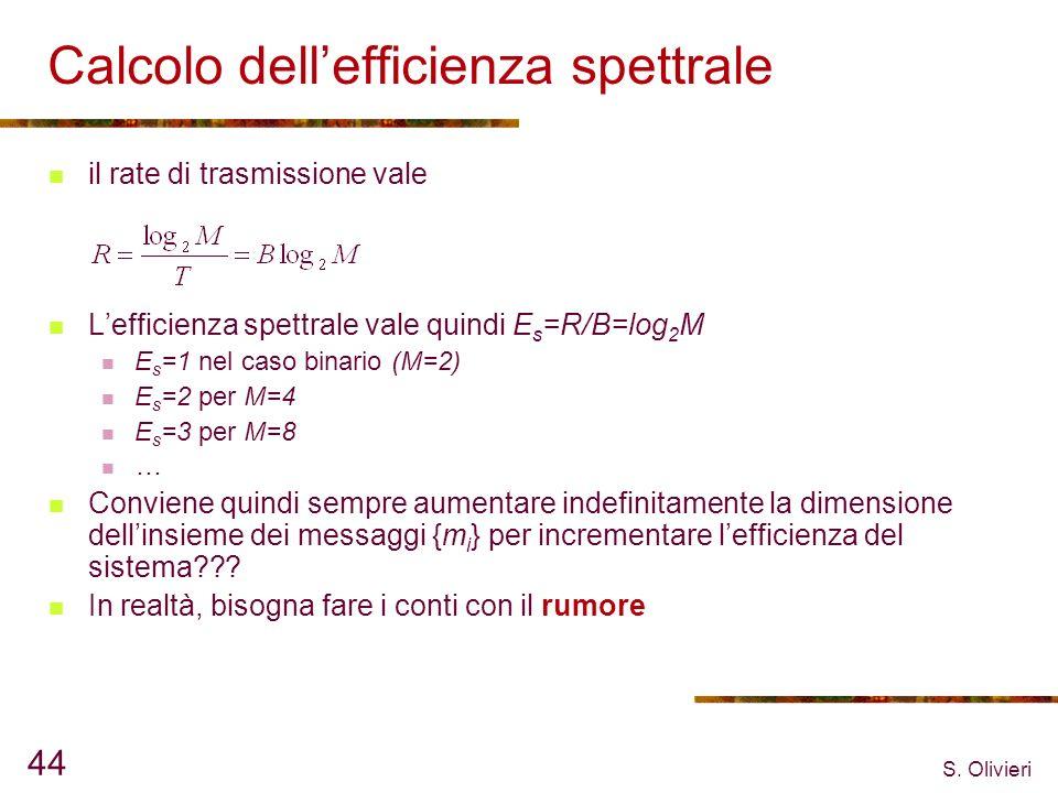 S. Olivieri 44 Calcolo dellefficienza spettrale il rate di trasmissione vale Lefficienza spettrale vale quindi E s =R/B=log 2 M E s =1 nel caso binari