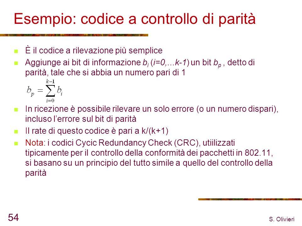 S. Olivieri 54 Esempio: codice a controllo di parità È il codice a rilevazione più semplice Aggiunge ai bit di informazione b i (i=0,...k-1) un bit b