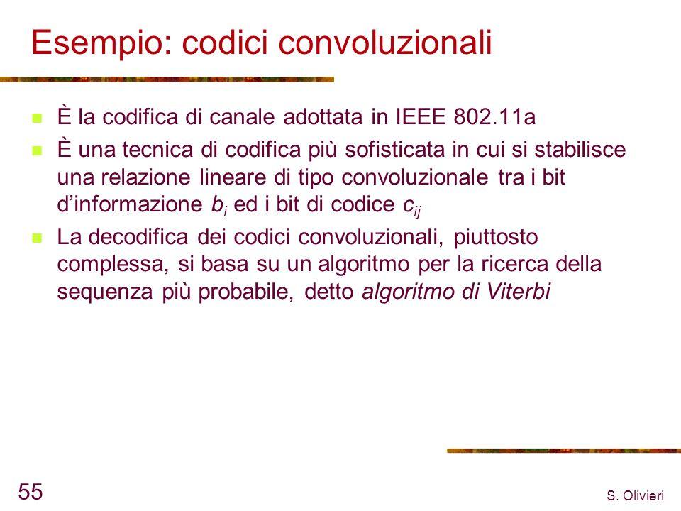 S. Olivieri 55 Esempio: codici convoluzionali È la codifica di canale adottata in IEEE 802.11a È una tecnica di codifica più sofisticata in cui si sta