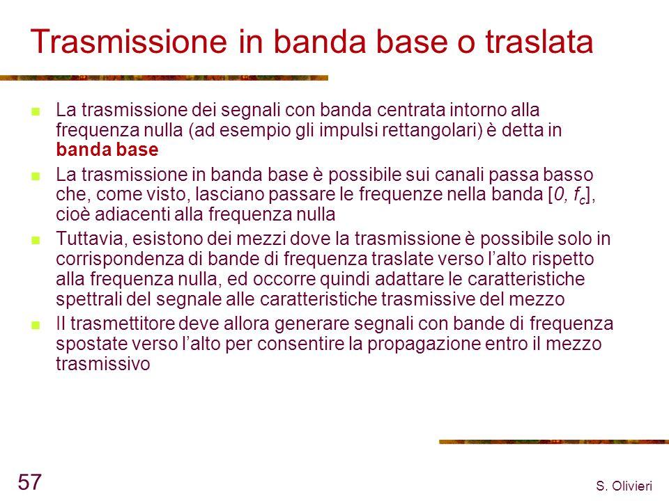 S. Olivieri 57 Trasmissione in banda base o traslata La trasmissione dei segnali con banda centrata intorno alla frequenza nulla (ad esempio gli impul
