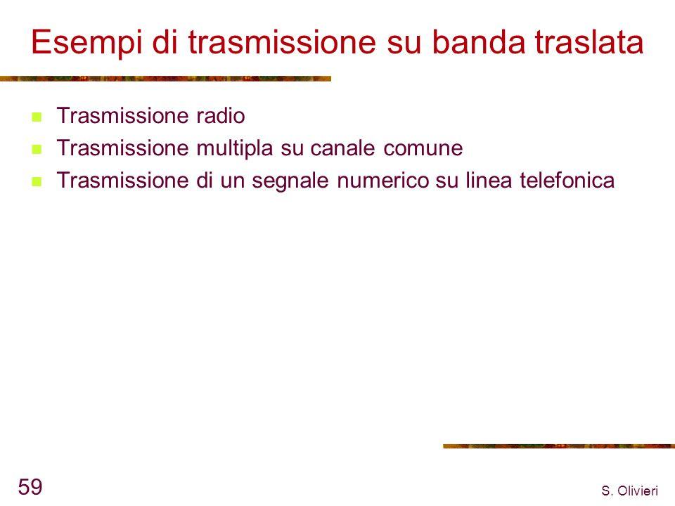 S. Olivieri 59 Esempi di trasmissione su banda traslata Trasmissione radio Trasmissione multipla su canale comune Trasmissione di un segnale numerico