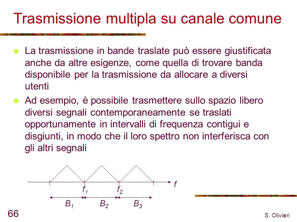 S. Olivieri 66 Trasmissione multipla su canale comune La trasmissione in bande traslate può essere giustificata anche da altre esigenze, come quella d