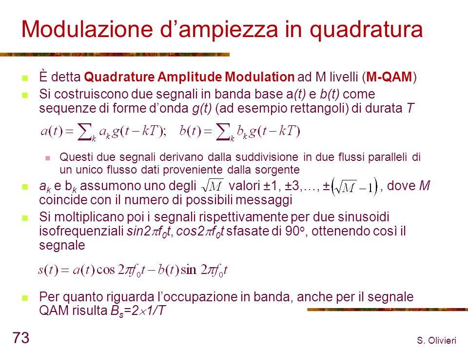 S. Olivieri 73 Modulazione dampiezza in quadratura È detta Quadrature Amplitude Modulation ad M livelli (M-QAM) Si costruiscono due segnali in banda b