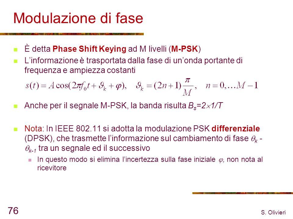 S. Olivieri 76 Modulazione di fase È detta Phase Shift Keying ad M livelli (M-PSK) Linformazione è trasportata dalla fase di unonda portante di freque