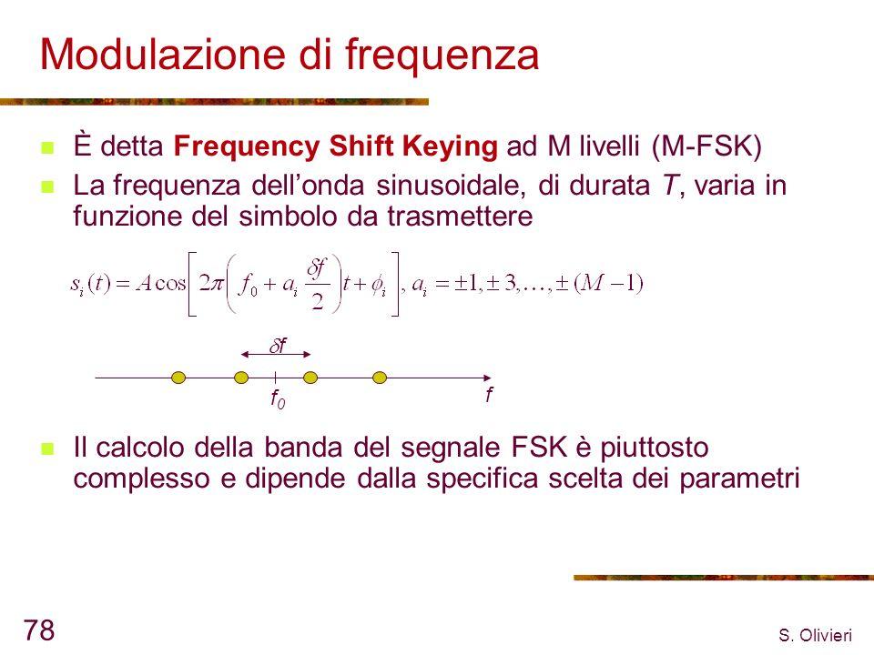 S. Olivieri 78 Modulazione di frequenza È detta Frequency Shift Keying ad M livelli (M-FSK) La frequenza dellonda sinusoidale, di durata T, varia in f