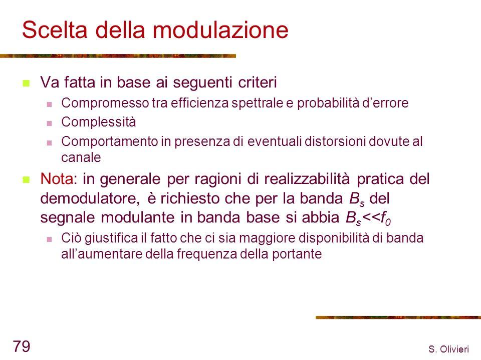 S. Olivieri 79 Scelta della modulazione Va fatta in base ai seguenti criteri Compromesso tra efficienza spettrale e probabilità derrore Complessità Co