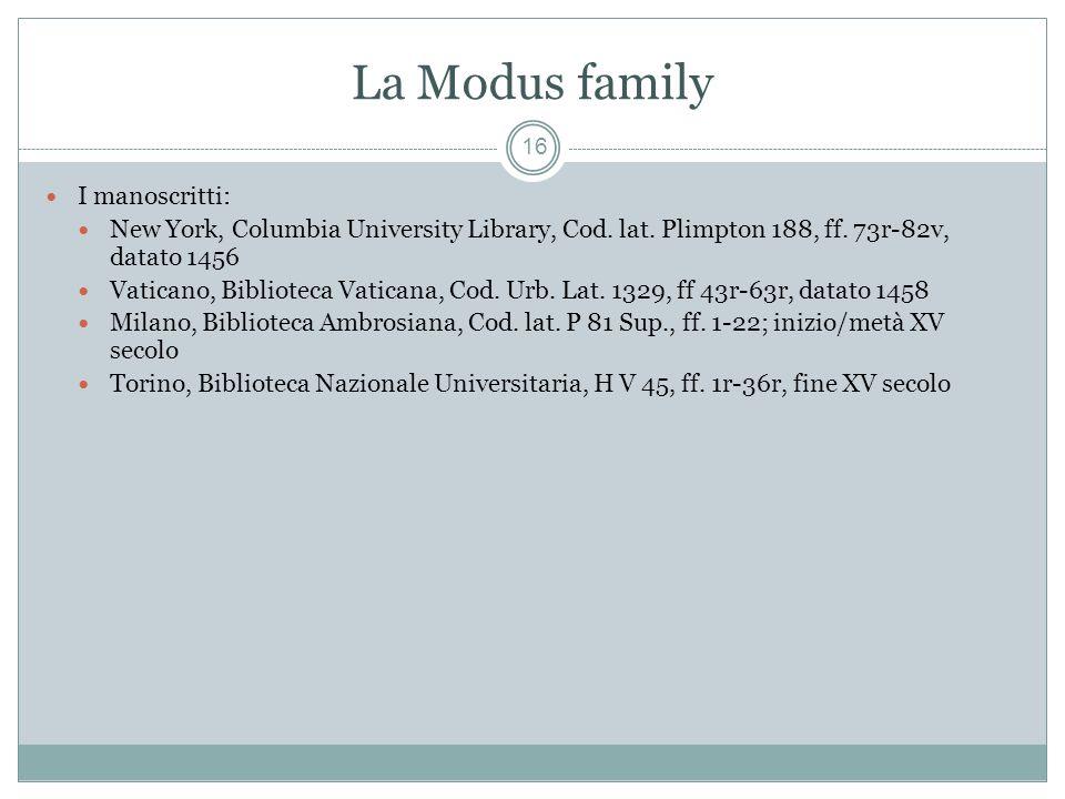 La Modus family 16 I manoscritti: New York, Columbia University Library, Cod.