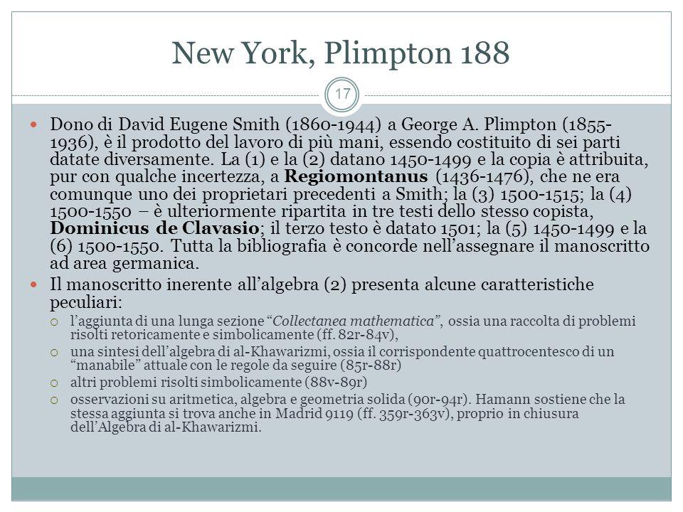 New York, Plimpton 188 17 Dono di David Eugene Smith (1860-1944) a George A.