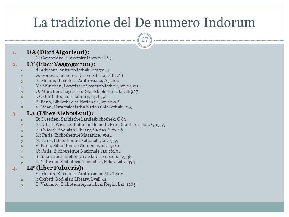La tradizione del De numero Indorum 27 1.DA (Dixit Algorismi): 1.