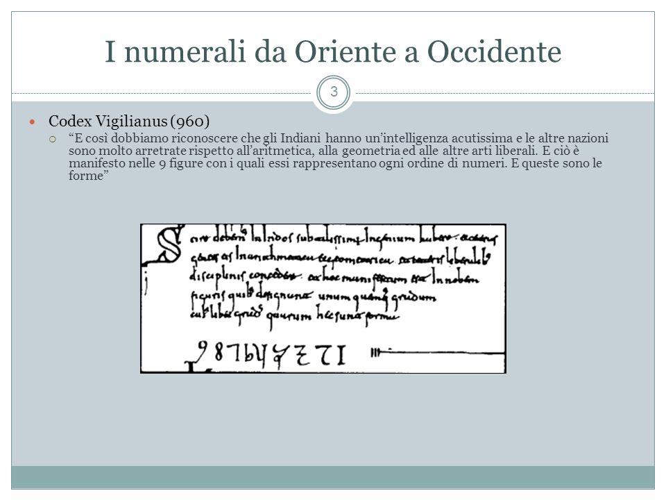 I numerali da Oriente a Occidente 3 Codex Vigilianus (960) E così dobbiamo riconoscere che gli Indiani hanno unintelligenza acutissima e le altre nazioni sono molto arretrate rispetto allaritmetica, alla geometria ed alle altre arti liberali.