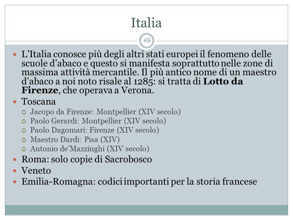 Italia 49 LItalia conosce più degli altri stati europei il fenomeno delle scuole dabaco e questo si manifesta soprattutto nelle zone di massima attività mercantile.