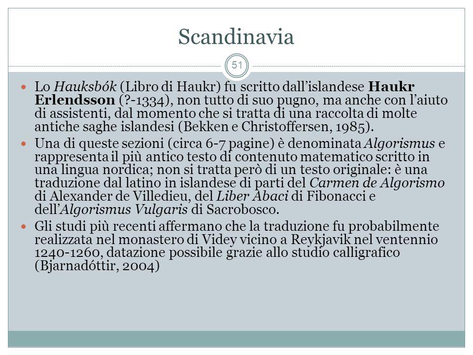 Scandinavia 51 Lo Hauksbók (Libro di Haukr) fu scritto dallislandese Haukr Erlendsson (?-1334), non tutto di suo pugno, ma anche con laiuto di assistenti, dal momento che si tratta di una raccolta di molte antiche saghe islandesi (Bekken e Christoffersen, 1985).