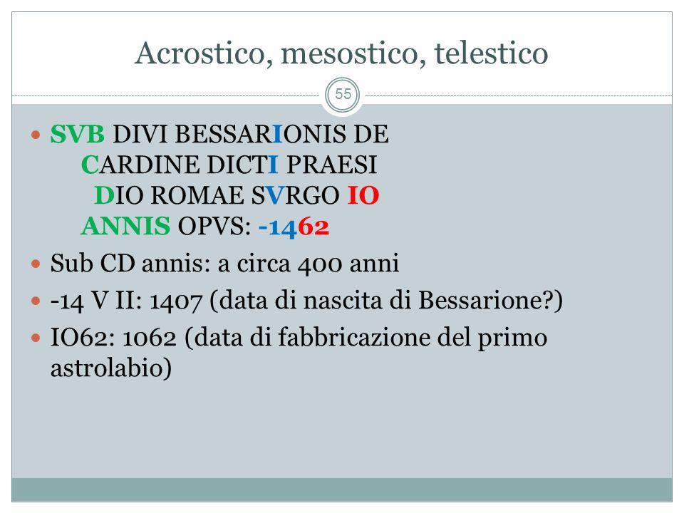 Acrostico, mesostico, telestico 55 SVB DIVI BESSARIONIS DE CARDINE DICTI PRAESI DIO ROMAE SVRGO IO ANNIS OPVS: -1462 Sub CD annis: a circa 400 anni -14 V II: 1407 (data di nascita di Bessarione?) IO62: 1062 (data di fabbricazione del primo astrolabio)