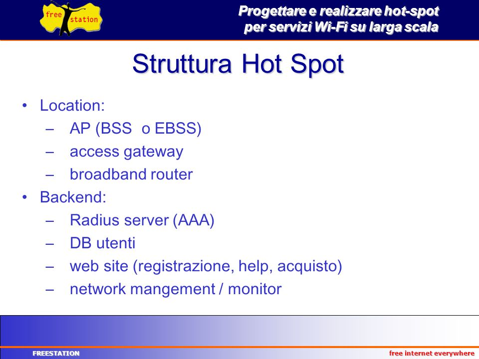 Progettare e realizzare hot-spot per servizi Wi-Fi su larga scala FREESTATION free internet everywhere Struttura Hot Spot Location: –AP (BSS o EBSS) –