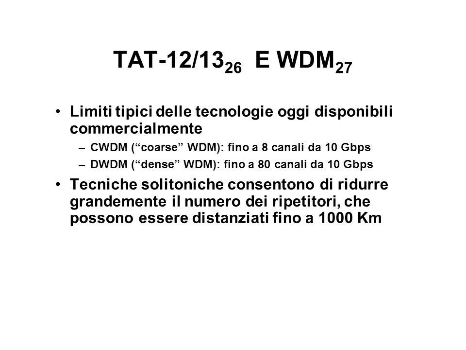 TAT-12/13 26 E WDM 27 Limiti tipici delle tecnologie oggi disponibili commercialmente –CWDM (coarse WDM): fino a 8 canali da 10 Gbps –DWDM (dense WDM): fino a 80 canali da 10 Gbps Tecniche solitoniche consentono di ridurre grandemente il numero dei ripetitori, che possono essere distanziati fino a 1000 Km