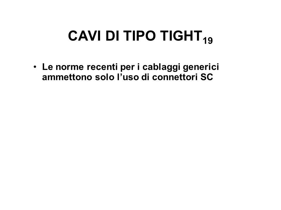 CAVI DI TIPO TIGHT 19 Le norme recenti per i cablaggi generici ammettono solo luso di connettori SC