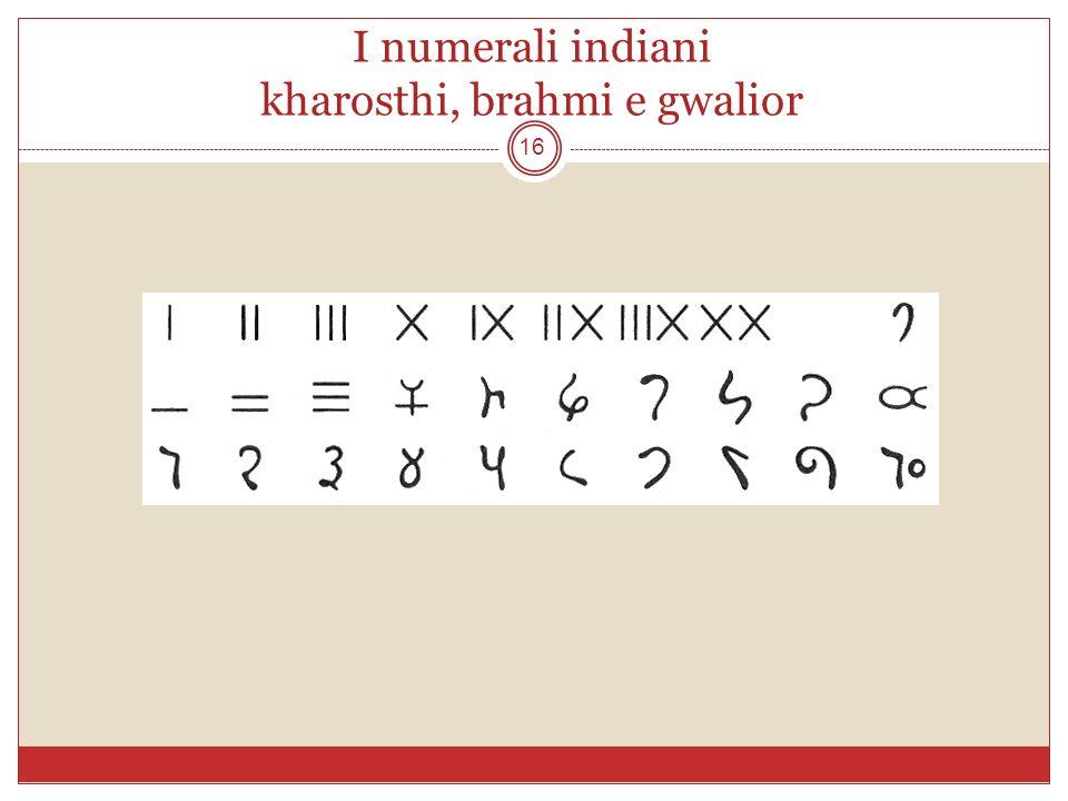 I numerali indiani kharosthi, brahmi e gwalior 16