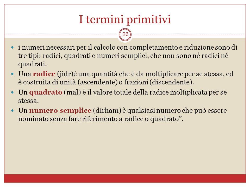 I termini primitivi 26 i numeri necessari per il calcolo con completamento e riduzione sono di tre tipi: radici, quadrati e numeri semplici, che non s