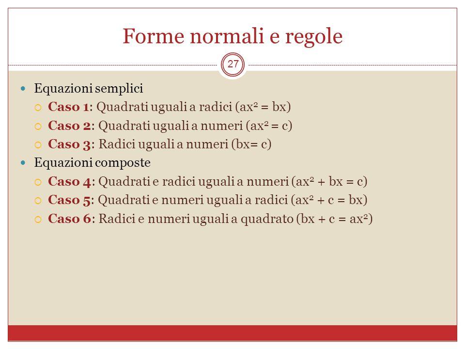 Forme normali e regole 27 Equazioni semplici Caso 1: Quadrati uguali a radici (ax 2 = bx) Caso 2: Quadrati uguali a numeri (ax 2 = c) Caso 3: Radici u
