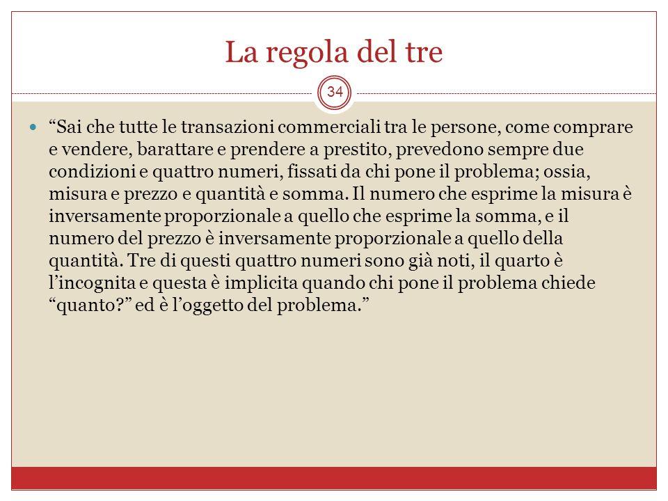 La regola del tre 34 Sai che tutte le transazioni commerciali tra le persone, come comprare e vendere, barattare e prendere a prestito, prevedono semp