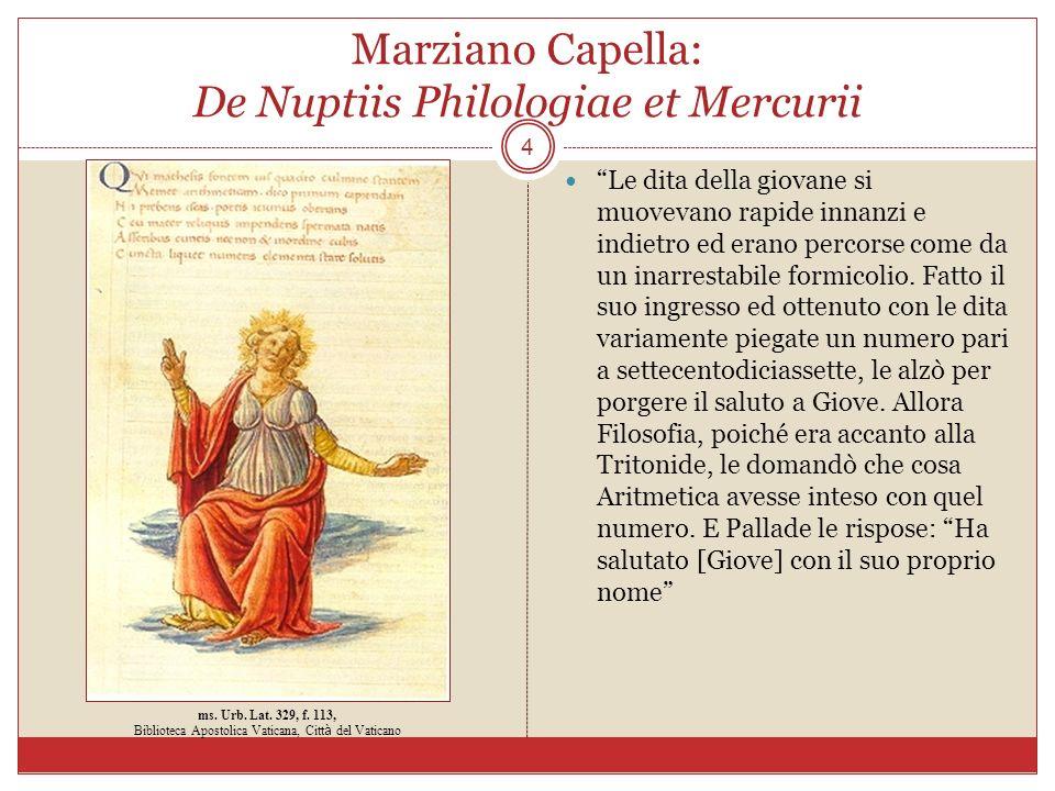 Marziano Capella: De Nuptiis Philologiae et Mercurii 4 Le dita della giovane si muovevano rapide innanzi e indietro ed erano percorse come da un inarr