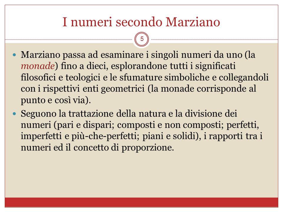 I numeri secondo Marziano 5 Marziano passa ad esaminare i singoli numeri da uno (la monade) fino a dieci, esplorandone tutti i significati filosofici