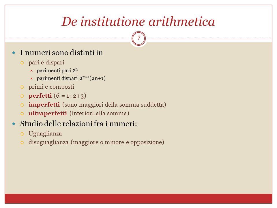 De institutione arithmetica 7 I numeri sono distinti in pari e dispari parimenti pari 2 n parimenti dispari 2 m+1 (2n+1) primi e composti perfetti (6