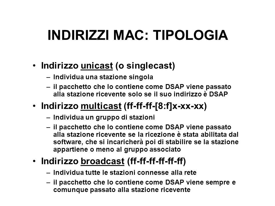 INDIRIZZI MAC: TIPOLOGIA Indirizzo unicast (o singlecast) –Individua una stazione singola –il pacchetto che lo contiene come DSAP viene passato alla stazione ricevente solo se il suo indirizzo è DSAP Indirizzo multicast (ff-ff-ff-[8:f]x-xx-xx) –Individua un gruppo di stazioni –il pacchetto che lo contiene come DSAP viene passato alla stazione ricevente se la ricezione è stata abilitata dal software, che si incaricherà poi di stabilire se la stazione appartiene o meno al gruppo associato Indirizzo broadcast (ff-ff-ff-ff-ff-ff) –Individua tutte le stazioni connesse alla rete –il pacchetto che lo contiene come DSAP viene sempre e comunque passato alla stazione ricevente